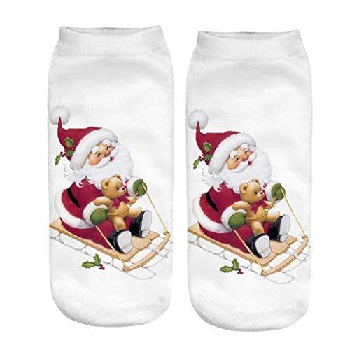 ZODOF Calcetines Navidad Unisexo Vacaciones Calcetines Papá Noel Calcetines Cortos Divertidos calcetin Papa Noel Personalizado