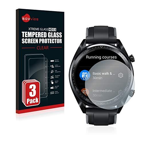 Savvies Panzerglas kompatibel mit Huawei Watch GT/GT Active (3 Stück) - Echt-Glas, 9H Festigkeit, Anti-Fingerprint