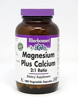 BlueBonnet Magnesium Calcium 2:1 Ratio Vegetarian Capsules, 180 Count