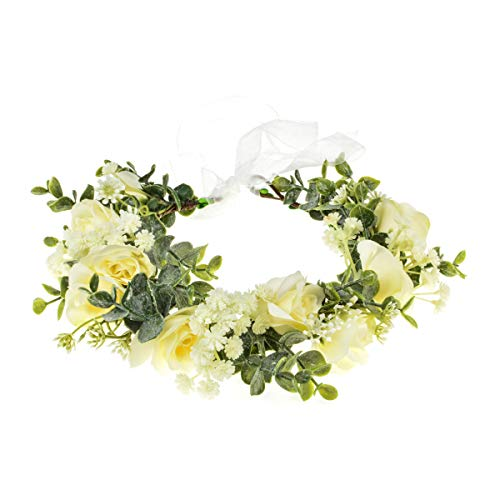 Funsveta Floral Headpiece Garland Halo Maternity Photo Shoot Flower Crown Eucalyptus Leave Headband Wedding Headpiece (Green Leaf and Ivory)