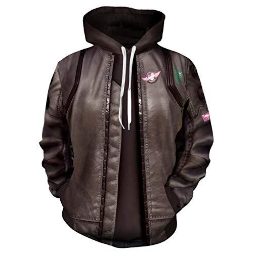 LYDF Chaqueta de cuero sintético para hombre,Chaquetas motoristas de motocicleta,Chaqueta de cuero sintético para hombre,Ciberpunkzipper marrón XL