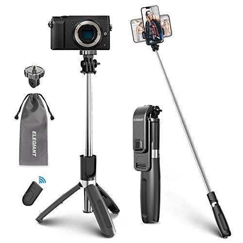ELEGIANT Palo Selfie Trípode Bluetooth, 4 en 1 Selfie Stick Móvil con Control Remoto, Deportivo Extensible para Viaje, Monopié con Obturador Rotación 360° para Cámara Deportiva, Celular Android iOS