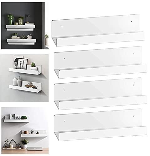 ionlyou Wandregal Weiß Schweberegal 4er Set Küchenregal Wand Ohne Bohren Wanddeko Wohnzimmer Regalbrett Regale für die Wand Badezimmer Schlafzimmer Küche Büro Flur Waschküche