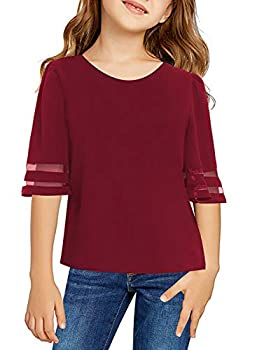 Blibea Girls Clothing Casual Flare Short Sleeve Tunic Tops Blouse Little Girls Loose Fashion Tee Shirts Size 10-11 Red