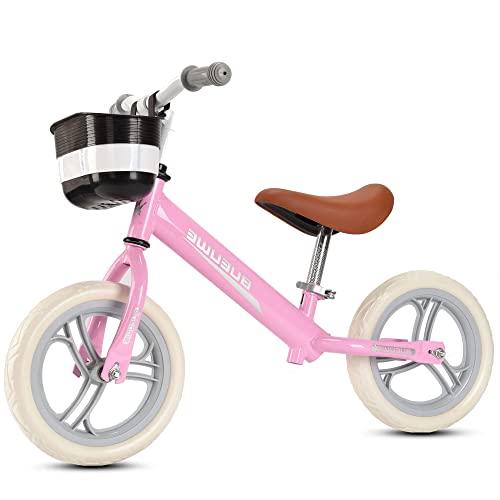 DFBGL Bici Senza Pedali per Bambini, Senza Pedali, Ruote da 12 Pollici, Sedile Regolabile, Prima Bicicletta per Bambini per 2 3 4 5 Anni, Una Ragazza da 12 Pollici