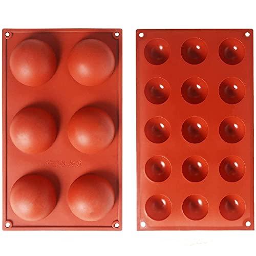 Cevikno Silikonform für Schokolade, 2 Packungen Backform zur Kuchen, Gelee, Pudding, handgefertigte Seife, Dome-Mousse runde Form, 6 Hohlräumen und 15 Hohlräumen