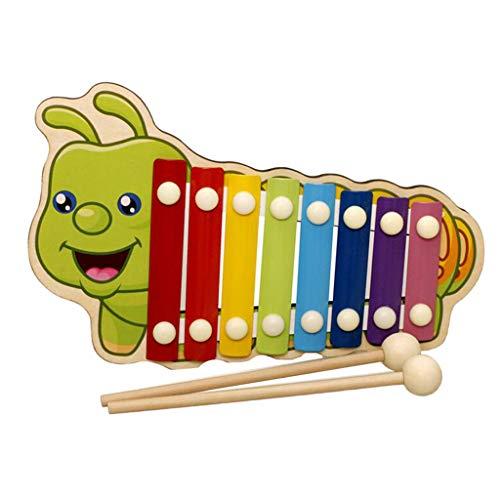 B Blesiya Bunte Klavier Xylophon Glockenspiel Instrument Musikspielzeug Holzspielzeug für Kleinkind - Raupe