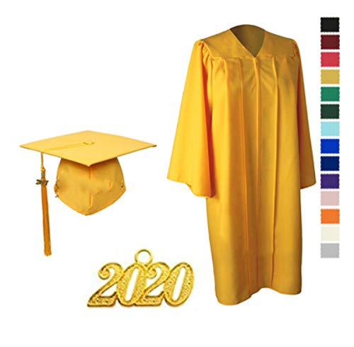 "Toga Birrete Graduación Mate Unisex Para Bachiller Universitario/Escuela Secundaria Con Encanto Año 2020 3 Colores,Yellow-45"""
