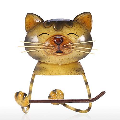 Moobeasch Cat Toallero de papel Vintage Hierro Fundido Perro Papel higinico Holder Soporte de toalla de pie para bao