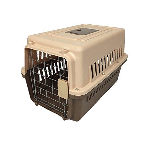 ペットキャリーケース Mサイズ 小型犬 中型犬用 ハードタイプ 57×37×35cm 茶 ブラウン