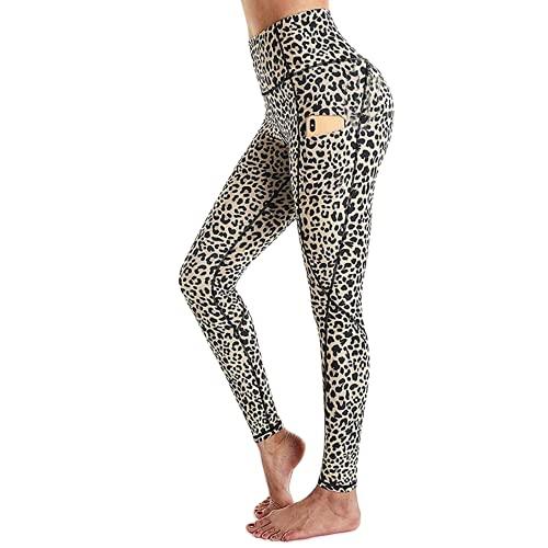 QTJY Leggings de Bolsillo de Cintura Alta con Estampado de Leopardo, Pantalones Deportivos para Yoga, Pantalones Deportivos de Entrenamiento de Cadera Delgados para Mujer A XL