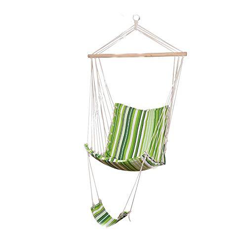 Chaise hamac, Suspendu Chaises Corde Repose-Pieds - Soft Toile en Bois Massif Support Durable Corde - pour Intérieur/Extérieur Cour Arbre Jardin