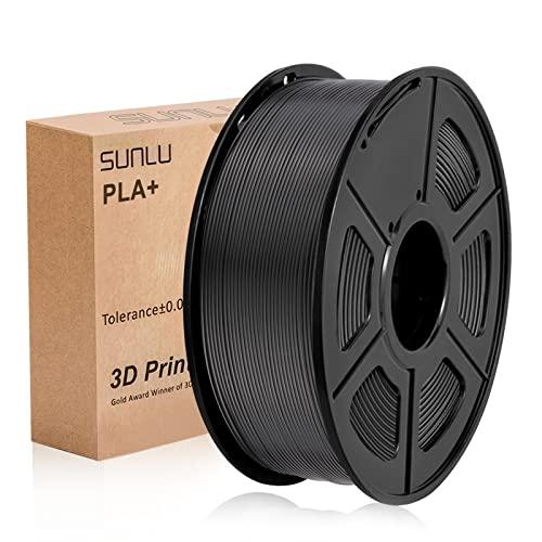 SUNLU PLA+ Filament Schwarz 1,75 +/- 0,02 mm, 3D-Drucker Filament PLA Plus 1,75 mm 1 kg Spule für 3D-Druck