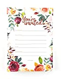 Wedding Invitations Floral Watercolor Fill In Invitation NO ENVELOPES Quinceanera, Bridal Shower, Baby Shower, Rehearsal Dinner, Birthday Party, Anniversary 50-5' X 7' Wedding Invitations