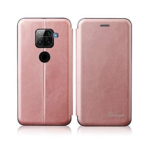 Cajas de Cuero LJR para Xiaomi Redmi Note 9 / 10x 4g Integrado Electricidad Presionando Textura Retro Magnético TPU TPU + PU Caja de Cuero con Ranura para Tarjeta y Soporte (Color : Rose Gold)