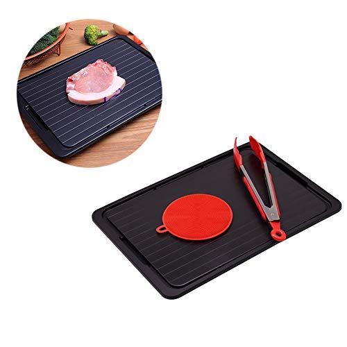 YLHOME Defrost-Board mit Tropfschale, Schneidebrett für Gefrorenes Fleisch, Fisch, Huhn, Gemüse schneiden, leicht zu reinigen mit Clip, Rundbürste