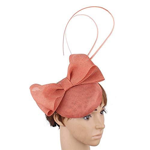 FHKGCD Mujeres Novia Imitacin Sinamay Fascinator Headwear Evento Ocasin Sombrero para Kentucky Derby Church Wedding Party Races, Melocotn Oscuro,