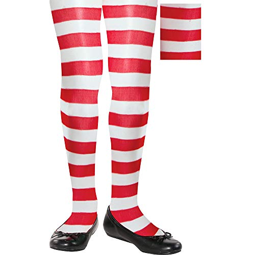 Amscan Fun-Filled Christmas & Holiday Party Candy Stripe Tights, Red/White, Child Size