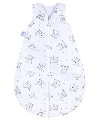 Julius Zöllner Baby Ganzjahresschlafsack aus 100 Prozent Baumwolle, Größe 90, 12-24 Monate, Standard 100 by OEKO-TEX, Made in EU, Häschen und Eule