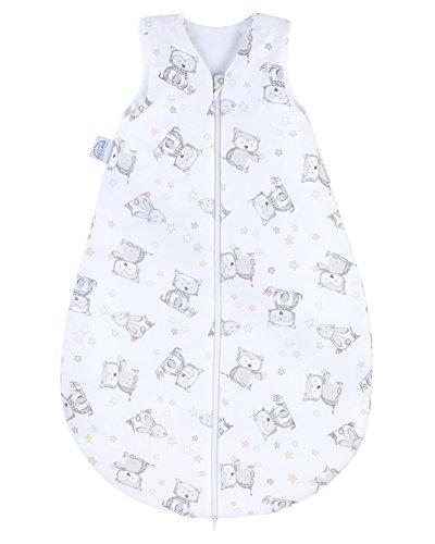 Julius Zöllner Baby Ganzjahresschlafsack aus 100% Baumwolle, Größe 110, 24-48 Monate, Standard 100 by OEKO-TEX, made in Germany, Häschen und Eule