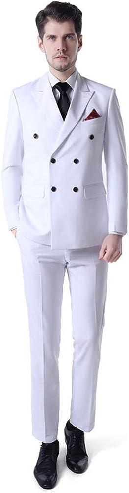 2 PCs Slim Fit Men Suits (Jacket+Pants) Double Breasted Blazer Wedding Prom Grooms Tuxedo Plus Size