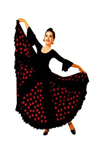 Flamifeel Jupe Femme de Flamenco Dance Noir à Pois Rouge (M)