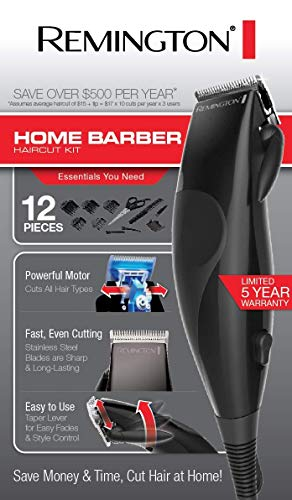 Remington 2 Piece Precision Corded Home Barber Haircut Trimming Kit, 1 Count