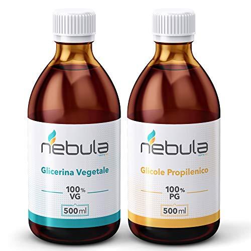 KIT BASE NEUTRA NEBULA 1 litro - GLICOLE PROPILENICO + GLICERINA VEGETALE 50VG/50PG