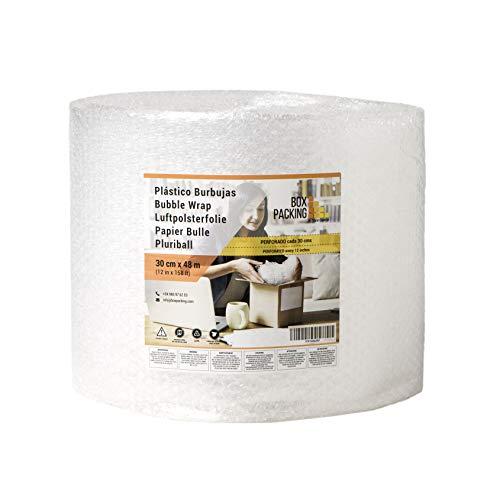 BOXPACKING | Rollo de Plástico de Burbujas | Perforado cada 30 centímetros | 30 cm ancho x 48 m largo | Papel Burbuja para Embalaje y Mudanza