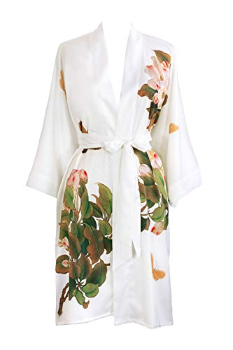 Women's Charmeuse Kimono Robe Short - Watercolor Floral - Peony & Butterfly- White