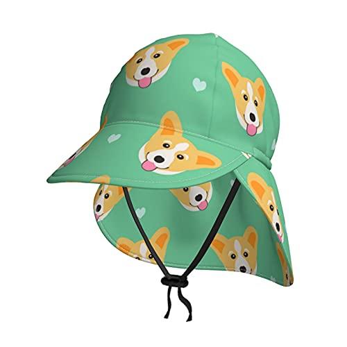 Baby Sonnenhut Süße Corgi Hunde Polka Dots Sommer Flap Cover Cap für Kleinkind Säugling Jungen Mädchen Sonnenschutz Sportliche Mütze Gr. 2-4 Jahre, Schwarz