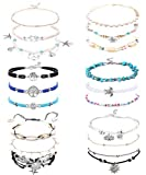 LOYALLOOK 18 Pieces Ankle Bracelets Set Ankle Chain Layered Beach Turtle Anklet Bohemian