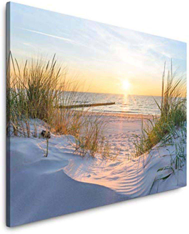 Paul Sinus Art Sonnenuntergang an der Ostsee 180 x 120 cm Inspirierende Fotokunst in Museums-Qualitt für Ihr Zuhause als Wandbild auf Leinwand in XXL Format