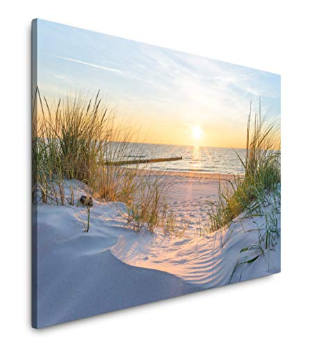 Paul Sinus Art Sonnenuntergang an der Ostsee 120x 80cm Inspirierende Fotokunst in Museums-Qualität für Ihr Zuhause als Wandbild auf Leinwand in