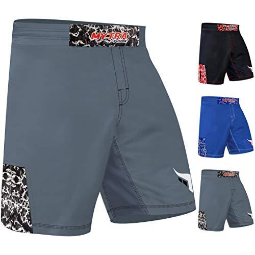 Mytra Fusion MMA Shorts Combat Shorts for Boxing and Fitness (Grey, Small)