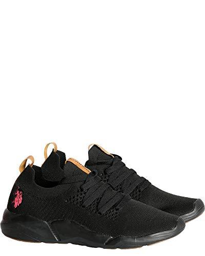 U.S. Polo Assn. Womens Lycra Mesh Sneaker,Black Coral,7