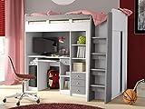 KRYSPOL Etagenbett für Kinder Combi Stockbett mit Treppe, Kleiderschrank und Schreibtisch (Weiß Matt + Grau Matt)