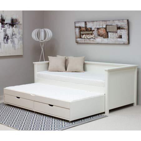 Alfred & Compagnie Arthur uittrekbaar bed met laden en 2 matrassen, 90 x 200 cm, wit