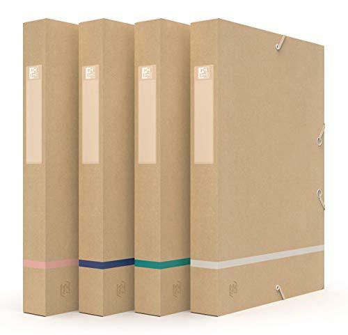 Oxford Touareg Boîte de Classement 24x32cm Dos 40mm avec Elastique Couverture carte recyclée Coloris assortis