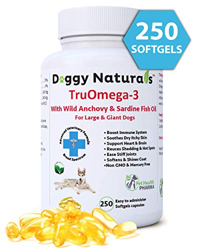 Tru Omega 3 Fish Oil for Dogs, Natural 250 Softgel Pills, 1000 mg EPA...
