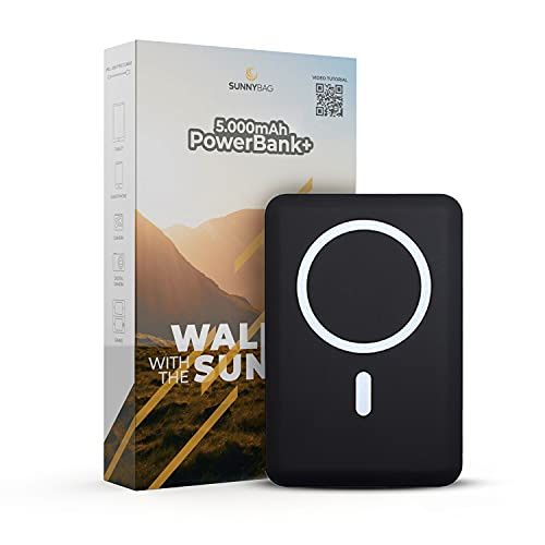 Sunnybag POWERBANK+ Batería externa compacta | Cargador inalámbrico Mag-Safe de 15W | Compatible con Apple iPhone 12 | Puertos USB/USB-C con Quick Charge 3.0 y PD Power Delivery | con cable USB-C