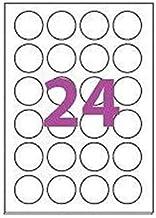 20 Planches de 24 étiquette rondes diamètre 45 mm = 480 étiquettes Ø 45 - Blanc Mat - pour imprimantes Laser et Jet d'encr...