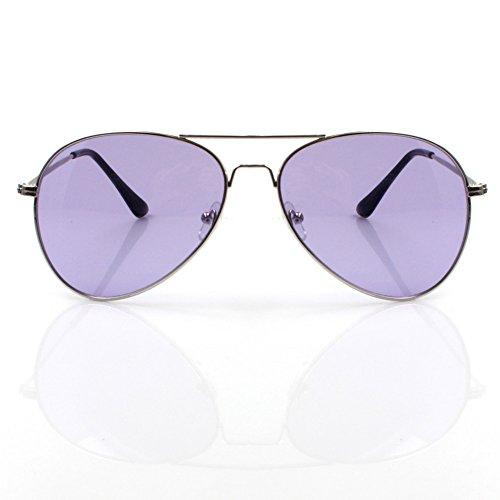 Accessoryo – Occhiali da sole classici a doppia punta, in argento, con lenti viola