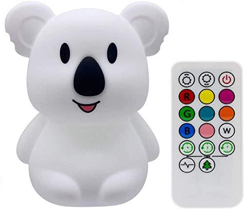 luce notturna Bambini, LED Forma animale silicone luce notte, Camera da letto Luce notturna con 9 colori che cambiano/USB ricaricabile/telecomando e toccare dimmerabile, Lampada da comodino - Koala