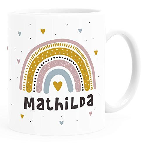 SpecialMe® Kindertasse Kunststoff Regenbogen Rainbow Namen personalisierte Namenstasse für Kinder Mädchen weiß Kunstoff-Tasse