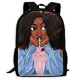 SARA NELL School Backpack Black Girl African American Girl Love Drink Bookbag Casual Travel Bag For Teen Boys Girls