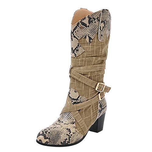 Honestyi Chaussure Mode Bottine Botte Motard Motarde Moto Biker Santiags Cowboy Femme Effet Peau de Serpent Python imprimé Animal lanière Talon Haut Bloc 6 CM Boots Shoes
