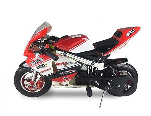 SYX MOTO Apex Pull Start 49cc 2-Stroke Gas Powered Kids Mini Pocket Bike, Off-Roading Rocket Motorcycle,Black
