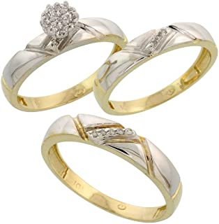 Silver City Jewelry 10k Yellow Gold Diamond Trio Engagement Wedding Ring Set for Him and Her 3-Piece 4.5 mm & 4 mm Wide 0.10 cttw Brilliant Cut, Ladies Sizes 5 – 10, Mens Sizes 8-14