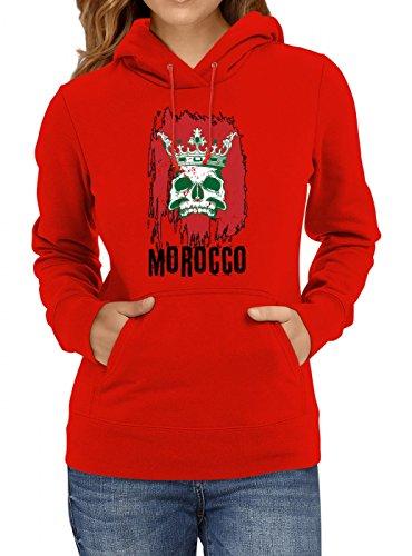 Shirt Happenz Marokko WM 2018#21 Premium Hoodie Fan Trikot Fußball Weltmeisterschaft Nationalmannschaft Frauen Kapuzenpullover, Farbe:Rot;Größe:L